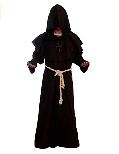 [Costume for The Medieval Monks Priest Robe Hooded Cosplay Various Styles (Small, Coffee)] (Priest Halloween Costume Deluxe)