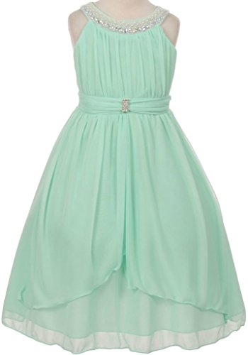 Flower Girl Beaded Neck Trim Chiffon Special Occasion Dress for Big Girl Mint 6 20.73