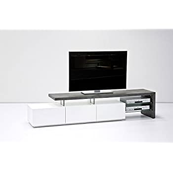 ANIMOS TV Stand U2013 Large TV Console White Matt Lacquered With Concrete Décor  Top Panel U2013