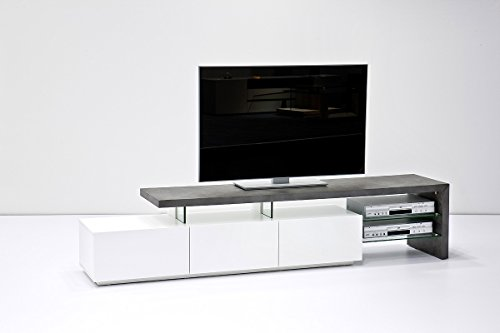 ANIMOS TV Stand – Large TV console white matt lacquered with Concrete Décor top panel – Stylish TV table with Concrete Décor finish for up to 90-inch flat TV screens – Mesa TV hasta 90 pulgadas by Concept Muebles