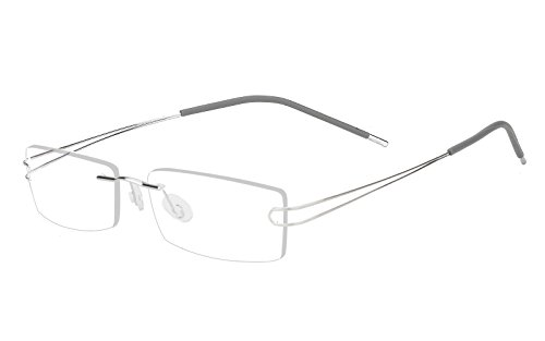 Agstum Pure Titanium Rimless Frame Prescription Hingeless Eyeglasses 52mm (Silver, ()