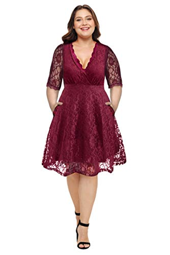 Women Plus Size Lace V Neck Short Formal Wedding Party Cocktail Dress with Pockets Burgundy, 18W-20W