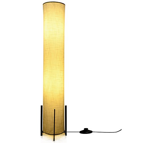 HOOOM Floor Lamp 52'' Led Modern Design Wood Base with Double Soft Diffused Linen Fabric Shade, Tall Unique Bedroom Standing Floor Lamp for Living or Family Room, Office, Placed In a Corner Space Saver by HOOOM Floor Lamp (Image #10)