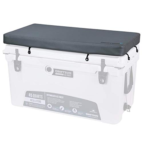 Driftsun Premium Ice Chest Cushion with Comfort Foam Interior and Marine Grade UV Resistant Vinyl Cover, Cooler Seat Cushion with Mounting Hardware, Fits 45-Quart Ice ()