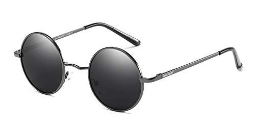 Protección primavera hombres para de Gris Gafas Polarizado lente Unisex UV WHCREAT bisagra disponible Metálico mujeres Retro Negro de mural sol de espejo Redondas de 400 marco xFU0n6Zna