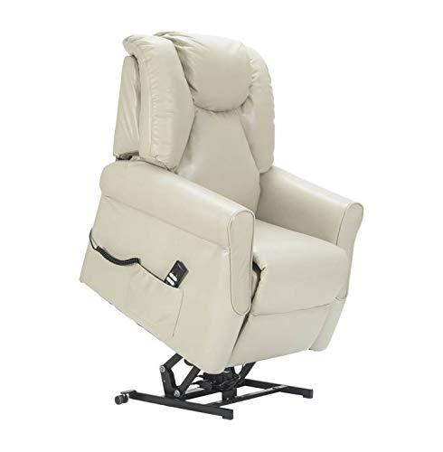 Sime – Fauteuil Relax et releveur en Cuir véritable Betty-2M-CS-PEBEI Blanc Cuir Personnalisables Accessoires CE Medical