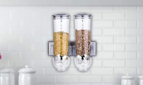 cibo per animali per la casa Dispensatore di cereali ermetico Enyaa caramelle argento dispensa e pasti Nero cucina doppio contenitore trasparente con vassoio raccoglibriciole integrato