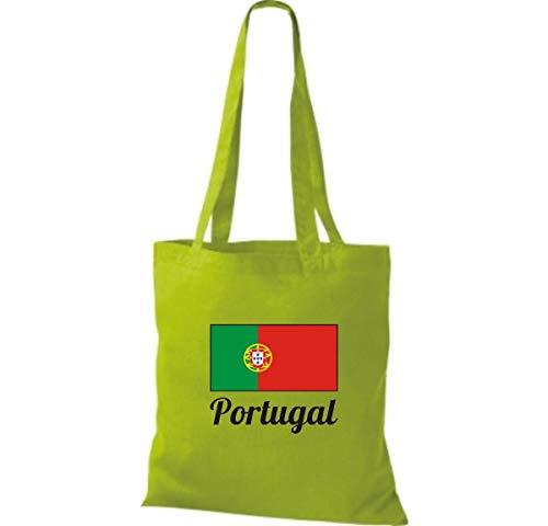 Coton Limegreen Länderjute Sac Portugal Toile En a16Bx6
