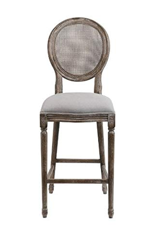 Cane Back Bar Stools (PR) Gray Oatmeal Linen Seat and Aged Wood