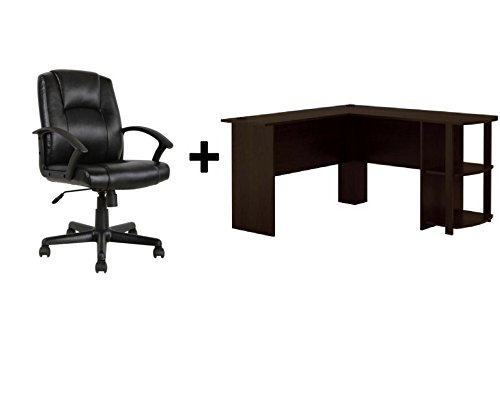 Wooden L-Shaped Desk with Large Workspace for Computer or Laptop, with Side Storage, for Office or Home Use( L: 53.62 x W: 51.31 x H: 28.31 in Bundle Dark Russet ()