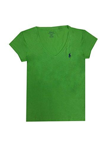 (Polo Ralph Lauren Women's Pony Logo V-Neck Tee X-Small Green)
