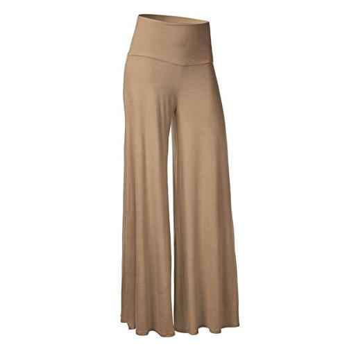 LANMWORN Women Wide Leg Pants Palazzo Pants High Waist Loose Long Culottes, Casual Flare Pleat Flowy Trousers 6 (Silk Wide Leg Trousers)