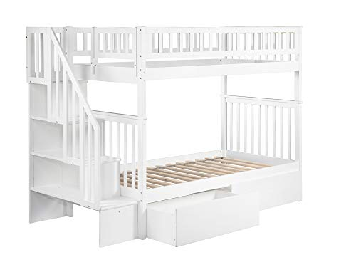 Atlantic Furniture AB56642 Woodland Staircase Bunk Bed with Urban Bed Drawers, Twin Twin, White