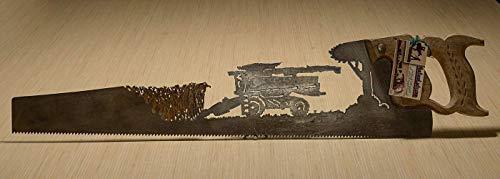 Metal Art 'Deer John' Combine corn design Hand (plasma) cut hand saw | Wall Decor | Garden Art | Recycled Art | Re-purposed - Made to Order