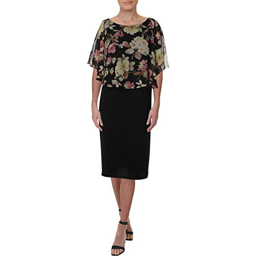 - Connected Apparel Womens Chiffon Floral Capelet Dress Black 10