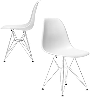 Fantastic Set Of 2 Chelsea Eames Dsr Eiffel Metal Base Molded Plastic Dining Chairs White Machost Co Dining Chair Design Ideas Machostcouk