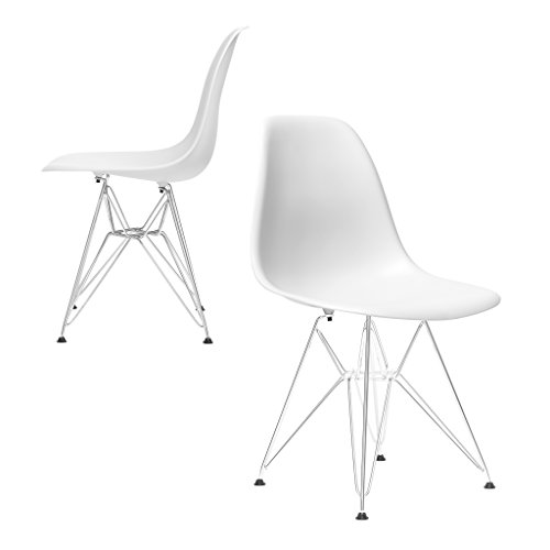 Set of 2 - Chelsea Eames DSR Eiffel (Metal Base) Molded Plastic Dining Chairs (White)