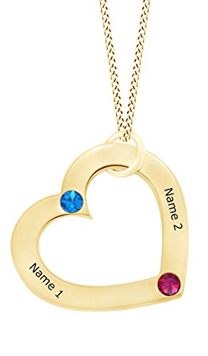 AFFY Personalize Engravable Simulated Gemstone Open Heart Pendant Necklace in 14k Yellow Gold Over Sterling Silver ()