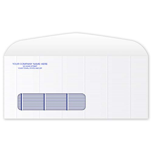 CheckSimple Customized Number 10 Single Window Confidential Mailing Envelope - Blue Security Tint (1000 Envelopes)
