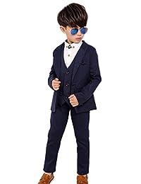 Fengchengjize Boys Slim Fit Suits Set 3-PCS Prom Tux Suit Jacket Vest Pants 3T-14Y