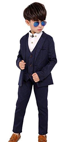 Boys Tuxedo Formal Dress Suit Classic Cotton 3 Pcs Suits Blazer Vest Pants For Wedding Party Costumes Navy ()