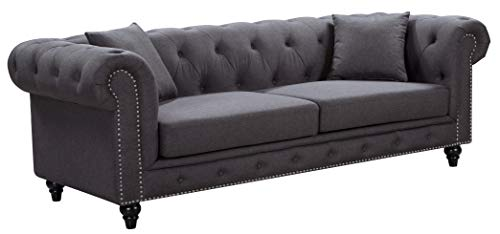 Meridian Furniture Chesterfield Sofa, Grey