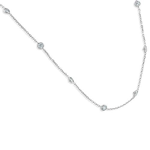 1 1/2 Ctw Diamond By The Yard Tennis Necklace 14K White Gold 18'' by P3 POMPEII3 (Image #1)