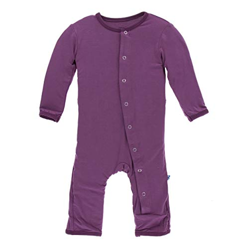 Coverall Girl Solid - Kickee Pants Little Girls Solid Coverall with Snaps - Amethyst, 0-3 Months
