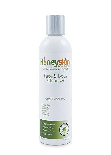 Gentle Moisturizing Organic Face & Body Wash (8 oz) Manuka Honey, Eczema, Psoriasis, Dermatitis, Rosacea, Aloe Vera, Botanicals, No Parabens, No Sulfates, No Fragrance, Non-Allergenic by Honeyskin