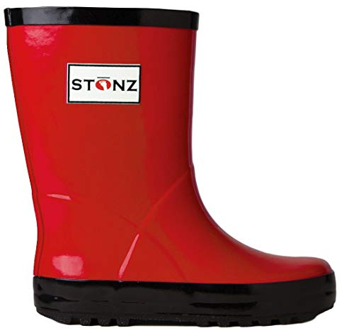 Stonz All-Natural Rubber Rainboot Rain Boots for Toddler Little Big Kid - Waterproof Colorful Warm - Summer Fall Winter - Red, Size 9T by Stonz (Image #1)