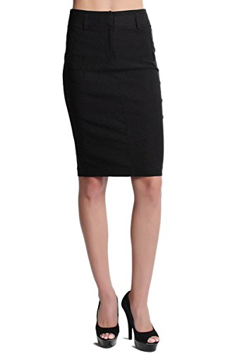 TheMogan Women's Timeless High Waisted Midi Pencil Skirt Black 3XL