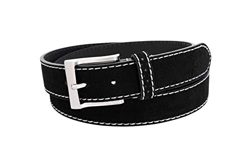 Florsheim Men's Casual Genuine Suede Leather Belt with Contrast Stitched Edge (Black, 44)