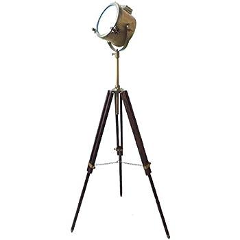 Vintage Antique Modern Floor Lamp Brown Tripod Brass