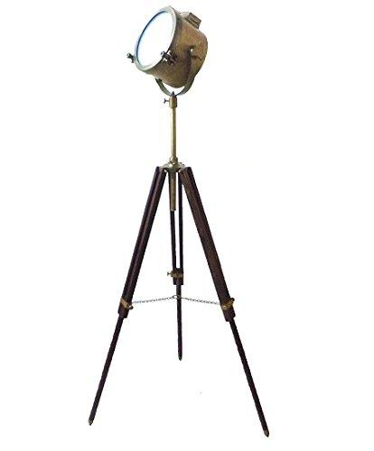 Vintage Antique Modern Floor Lamp Brown Tripod Brass Finish