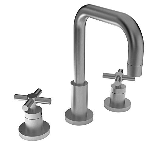 Newport Brass 1400 East Square Double Handle Widespread Lavatory Faucet with Met, Satin Nickel ()