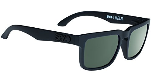 Spy Optic Helm Flat Sunglasses, Soft Matte Black/Happy Gray/Green, 57 - Sunglasses Swagger