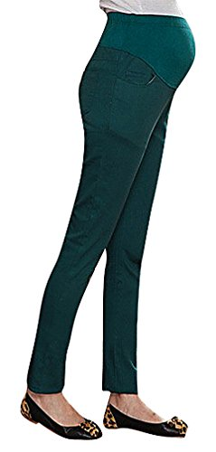 US&R Women's Candy Color Maternity Secret Fit Belly Full Length Skinny Trousers, 01BlackishGreen 10 ,Manufacturer(XXL)