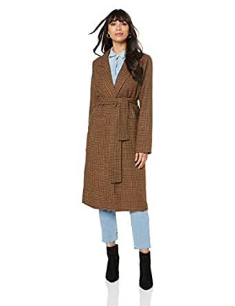 THIRD FORM Women's Tied Down Coat, Tan Check, 10