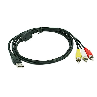 HDE 3 RCA to USB Audio/Video A/V Camcorder Adapter Cable for TV/Mac/PC (Pc Connection Cable Tv To)
