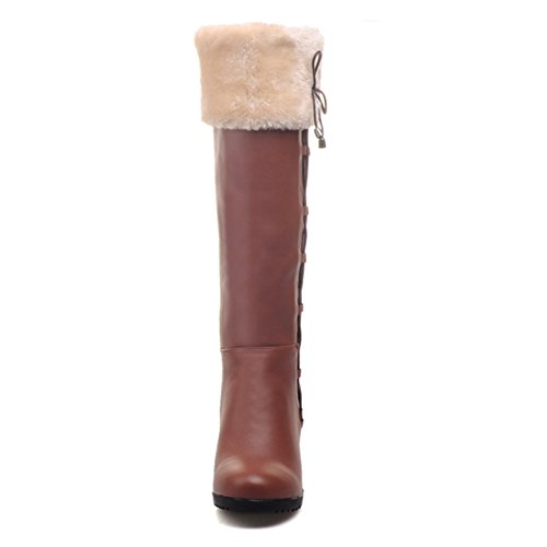 Boots Bow High Toe Womens Calf AIYOUMEI Block Heels Autumn Winter Mid Brown with Round 1Tw7qfag