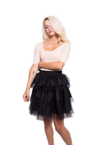 Tulle Italian (WonderAland Women's Flounces Italian Tulle Skirt (Large, Black))