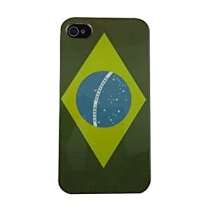 LCJ The National Flag of Brazil Pattern PC Back Case for iPhone 4/4S