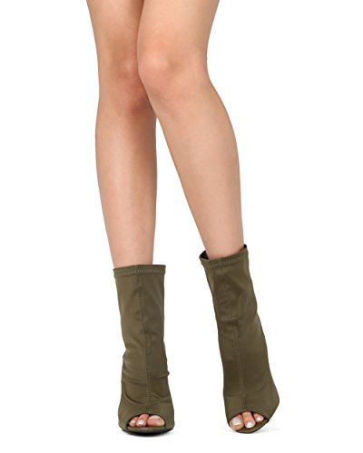 Alrisco Femmes Chunky Talon Chaussette Bootie - Peep Toe Bloc Talon Cheville Boot - Trendy Mode Sexy Bootie Stretch - Hc70 Par Diva Salon Collection Olive Lycra