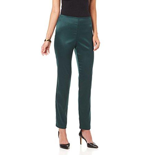 Naeem Khan Fashionable Stunning Matte Satin Pant Spruce Green 6# (Matte Satin Pants)