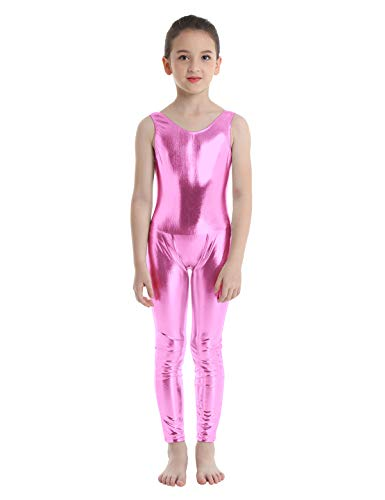 iiniim Kids Boys Girls Shiny Mettalic Full Body Unitard Jumpsuit Gymnasitc Tank Leotard Fancy Dance Costumes Pink 5-6]()