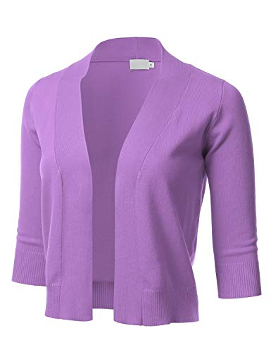 Women's Classic 3/4 Sleeve Open Front Cropped Cardigan Purple L