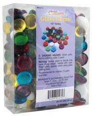 Gems Variety Pack - Jennifer's Mosaics Color Variety 1/2-Inch Medium Glass Gems, Assorted Colors, 1-Pound