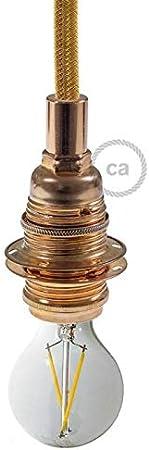 Doppia ghiera. Creative-Cables Portalampada in Metallo Colore Rame Attacco Lampadina E27