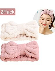 SweetCat Microfiber Bowtie Women Beauty Headbands, Extrame Soft & Ultra Absorbent, Comfort to Wash Makeup Mask Shower Facial Skincare Spa Thick Hair Band for Girls (Beige+Pink) ()