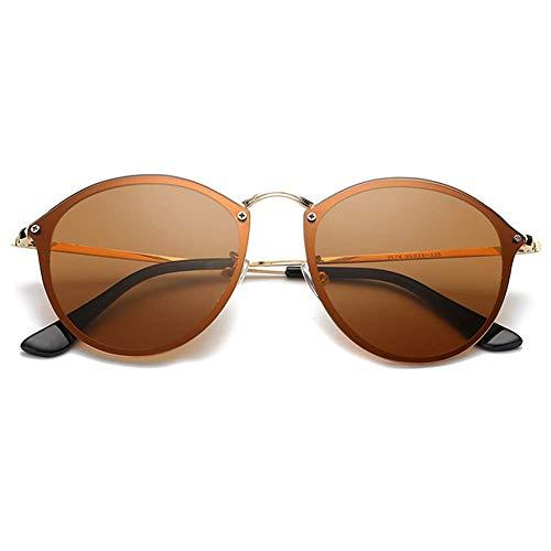 GAMT Polarized Rimless Round Sunglasses for Men Women Vintage Metal Frame Fashion Designer Style Gold frame brown